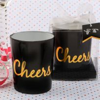 Black & Gold Cheers Candle Holder